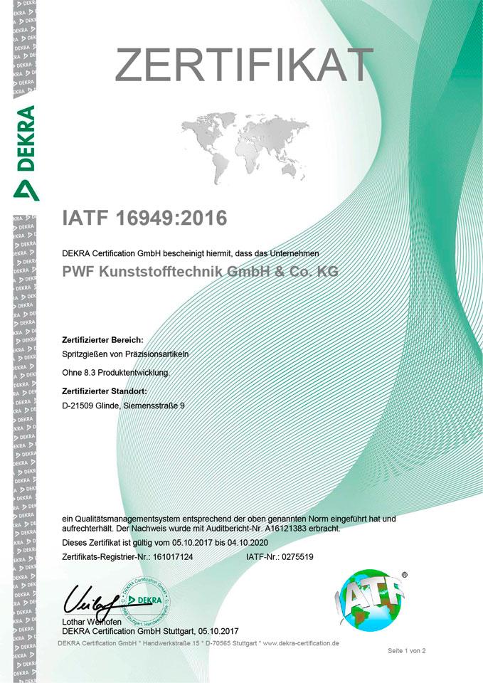 Qualitätszertifikat IATF 16949:2016