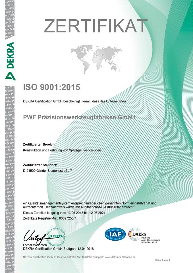 Zertifikat nach ISO 9001